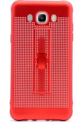 Gpack Samsung Galaxy J7 2016 Kılıf Standlı Parmak Tutucu Kılıf Kırmızı + Cam + Kalem