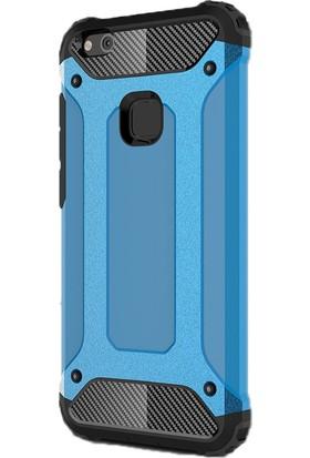 Gpack Huawei P10 Lite Kılıf Darbe Emici Crash Arka Kapak Mavi + Cam
