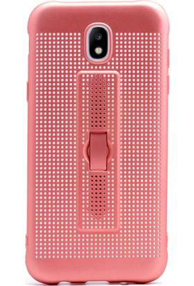 Gpack Samsung Galaxy J5 Pro Kılıf Standlı Parmak Tutucu Kılıf Bronz + Cam