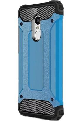 Gpack Xiaomi Redmi Note 4X Kılıf Darbe Emici Crash Arka Kapak Mavi + Kalem + Cam
