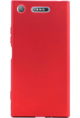 Gpack Sony Xperia XZ1 Kılıf Premier Yumuşak Doku Silikon Case Kırmızı + Kalem + Cam