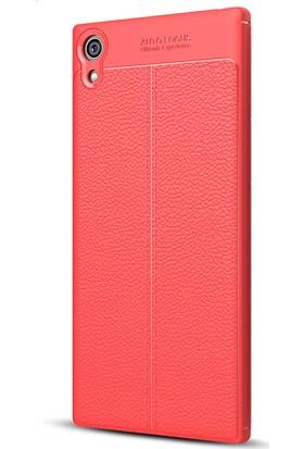 Gpack Sony Xperia XZ1 Kılıf Niss Tarz Silikon Arka Kapak Lacivert + Cam
