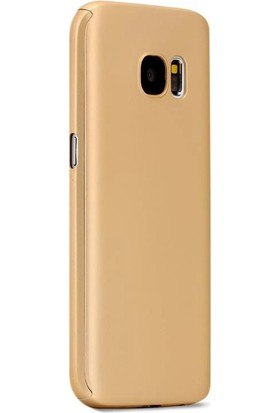 Gpack Samsung Galaxy J5 Prime Kılıf 360 Derece Full Kaplayan Rubber Gold + Cam