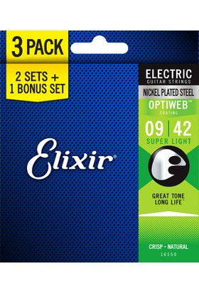 Elixir 009-042 Optiweb 3'lü Paket Elektro Gitar Teli