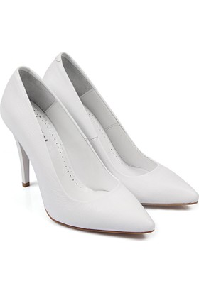 Gön Deri Kadın Ayakkabı Beyaz 15027