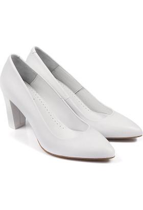 Gön Deri Kadın Ayakkabı Beyaz 15221