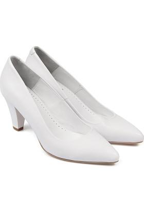 Gön Deri Kadın Ayakkabı Beyaz 15363