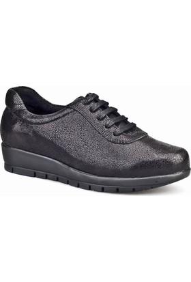 Cabani Bağcıklı Kadın Ayakkabı Siyah Saten