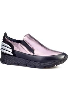 Cabani Kamuflaj Detay Kadın Ayakkabı Siyah Analin Deri