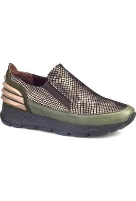 Cabani Kamuflaj Detay Kadın Ayakkabı Yeşil Deri