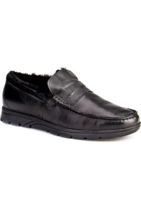 Cabani Kürklü Erkek Ayakkabı Siyah Deri