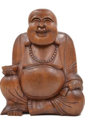 Ahşap El Yapımı Gülen Buda Heykelciği (Büyük Boy 23,5 cm)