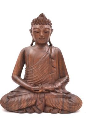 Buda Meditasyon Duruşlu Ahşap El Yapımı Heykel - DHYANA MUDRA (Büyük Boy 27 cm)