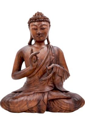 Buda Öğretici Duruşlu Ahşap El Yapımı Heykel - VITARKA MUDRA (Büyük Boy 27 cm)