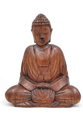 Buda Meditasyon Duruşlu Ahşap El Yapımı Heykel - DHYANA MUDRA (Orta Boy 19 cm)