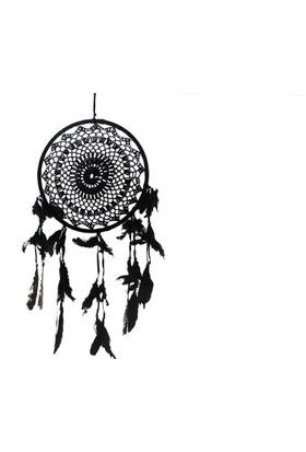 Dantelli /Makrome Rüya Kapanı / Düş Kapanı / Dreamcatcher - Siyah 28 cm