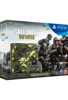 Sony Ps4 1 Tb Slim Green Camouflage Limited Edition + Call Of Duty WWII Konsol (Sony Eurasia)