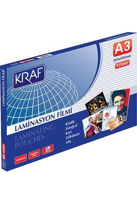 Kraf Laminasyon Filmi 125 Micron A3 303 x 426 mm 100'lü Paket