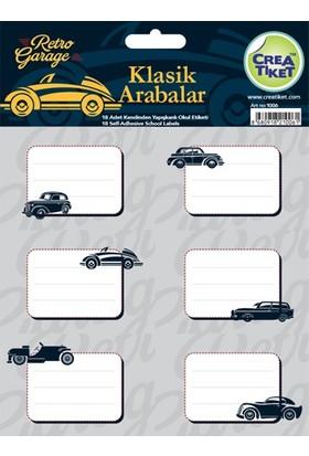CreaTiket 1006 Klasik Arabalar Serisi Okul Etiketi