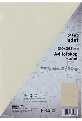 Umur A4 Renkli Fotokopi Kagidi 80 g 250'li Paket Renk - Krem