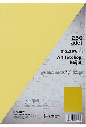 Umur A4 Renkli Fotokopi Kagidi 80 g 250'li Paket Renk - Sari