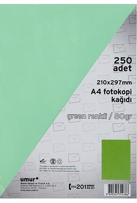 Umur A4 Renkli Fotokopi Kagidi 80 g 250'li Paket Renk - Açik Yesil