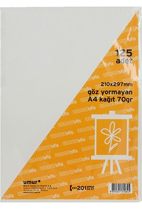 Umur A4 Göz Yormayan Kağıt 125'li Paket 70 g (Kitap Kağıdı)
