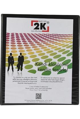 2k 2 Halkalı Klasör Pvc Cepli 7 cm Renk - Siyah