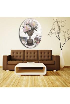 Artmoda Çiçek Dekoratif Kabartmalı Oval Puf 37x48
