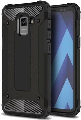 Case 4U Samsung Galaxy A7 2018 Korumalı Çift Katmanlı Tank Arka Kapak Siyah
