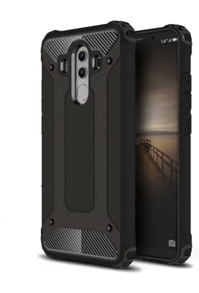 Case 4U Huawei Mate 10 Pro Korumalı Çift Katmanlı Tank Arka Kapak Siyah