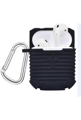 Case 4U Apple Airpods Bluetooth Kulaklığı İçin Askılı / Kancalı Silikon Kılıf Siyah