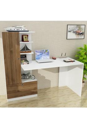 Dekorister Domingos Kitaplıklı Çalışma Masası Beyaz-Ceviz