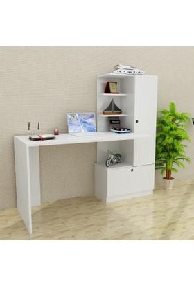 Dekorister Merinos Dolaplı Çalışma Masası + Bilgisayar Masası Beyaz