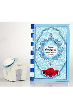 Mevlid Hediyesi Orta Boy Mavi 2'li Mevlüt Seti- Yasin Kitabı + Mevlüt Şekeri Kutusu