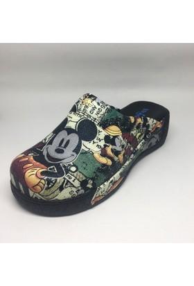 Yılkon Siyah Mickey Mouse Desenli Sabo Terlik