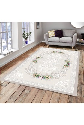 Best Home Latex Taban Dijital Baskılı Saçaklı Halı Ada Gri 180X280 Cm