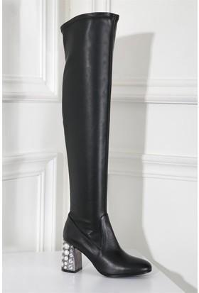 İlvi Jenifer 8952 Çizme Siyah Deri Streç