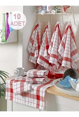 Eponj Home 10'lu Kurulama ve Mutfak Peçetesi 46x76Cm Kalın Çizgili Kırmızı