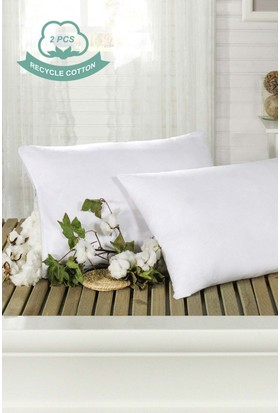2'li Recycle Pamuk Yastık 50 x 70cm Beyaz