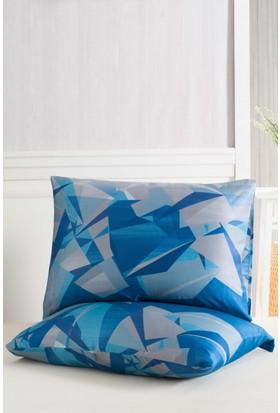 Eponj Home 2'li Yastık Kılıfı %100 Pamuk Kristal Mavi