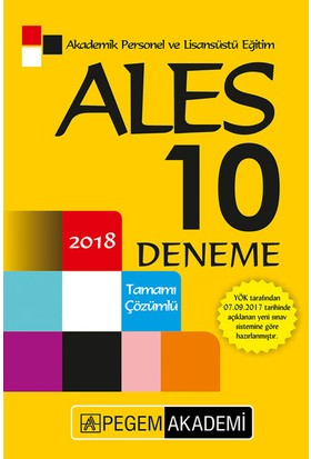 Pegem 2018 ALES 10 Deneme Çözümlü