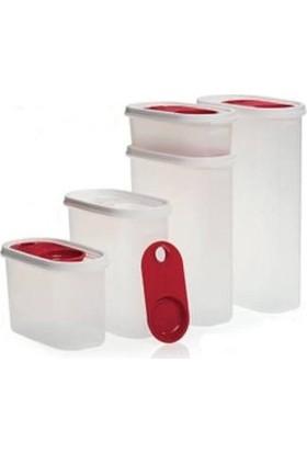 Tupperware Premium Oval Set 5'li Kırmızı (Kurubakliyat Saklama Seti)