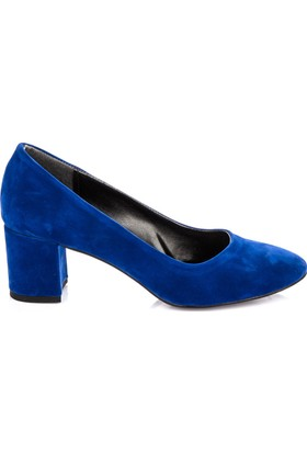 Pembe Potin Saks Mavi Nubuk Ayakkabı