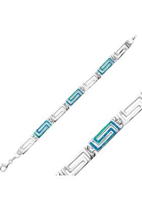 Tevuli 925 Ayar Gümüş Grek Desenli Opal Bileklik B82260