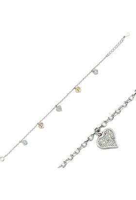 Tevuli 925 Ayar Gümüş Zirkon Taşlı 3 Renk Kalp Bileklik B82931