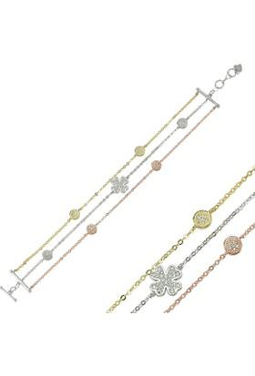 Tevuli 925 Ayar Gümüş Zirkon Taşlı 3 Sıralı Yonca Desenli Bileklik B82924