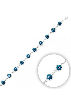 Tevuli 925 Ayar Gümüş Mavi Göz Taşlı Çiçek Bileklik B14419