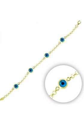 Tevuli 925 Ayar Gümüş Altın Kaplama 4'Lü Göz Bileklik B09891