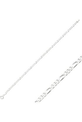 Tevuli 925 Ayar Gümüş 80 Mikron Figaro Zincir Bileklik Ch82378